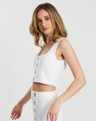 FRIEND of AUDREY Astor Linen Crop Top - Cropped tops (White)