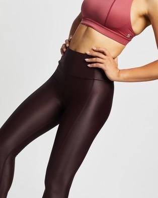 Sweaty Betty High Shine 7 8 Workout Leggings - Full Tights (Black Cherry)