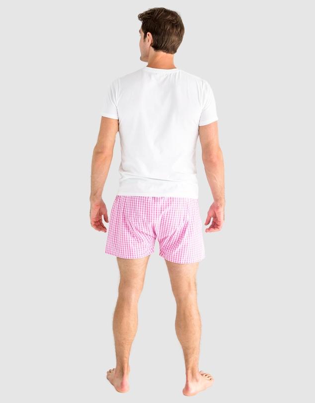 Men Men's Hepburn Gingham Pink Boxer Shorts