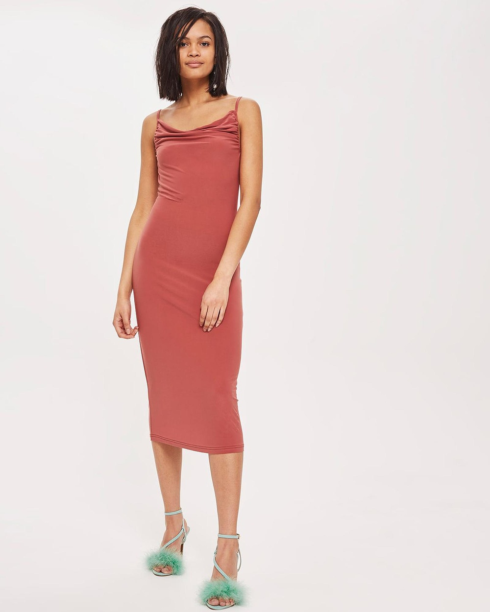 TOPSHOP Cowl Neck Slip Dress Dresses Rose Cowl Neck Slip Dress