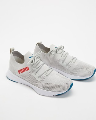 Puma Flyer Runner Engineer Knit   Men's - Performance Shoes (Gray Violet, Puma White & High Risk Red)