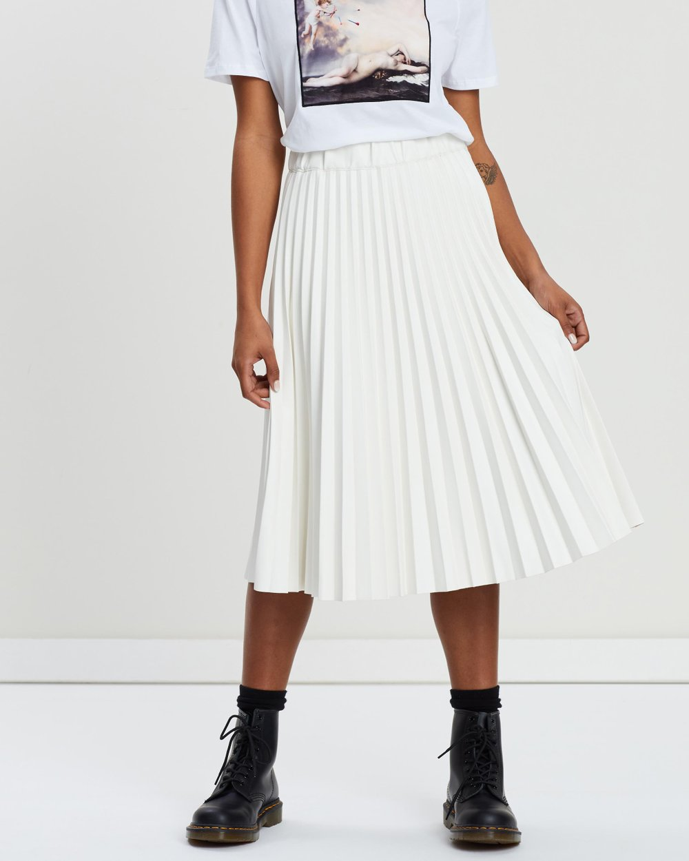 915e2f058 PU Pleated Midi Skirt by NA-KD Online | THE ICONIC | Australia