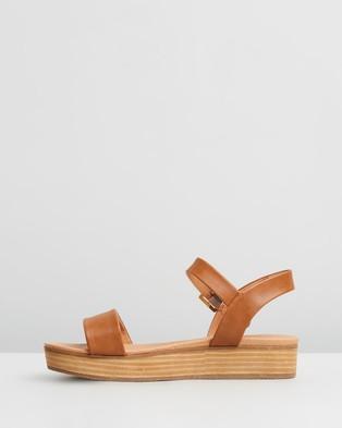 SPURR Cynthia Comfort Flatform Sandals - Wedges (Tan Smooth)