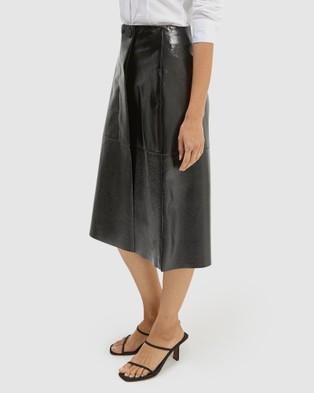 SABA Alexa Leather Midi Skirt - Leather skirts (Black)