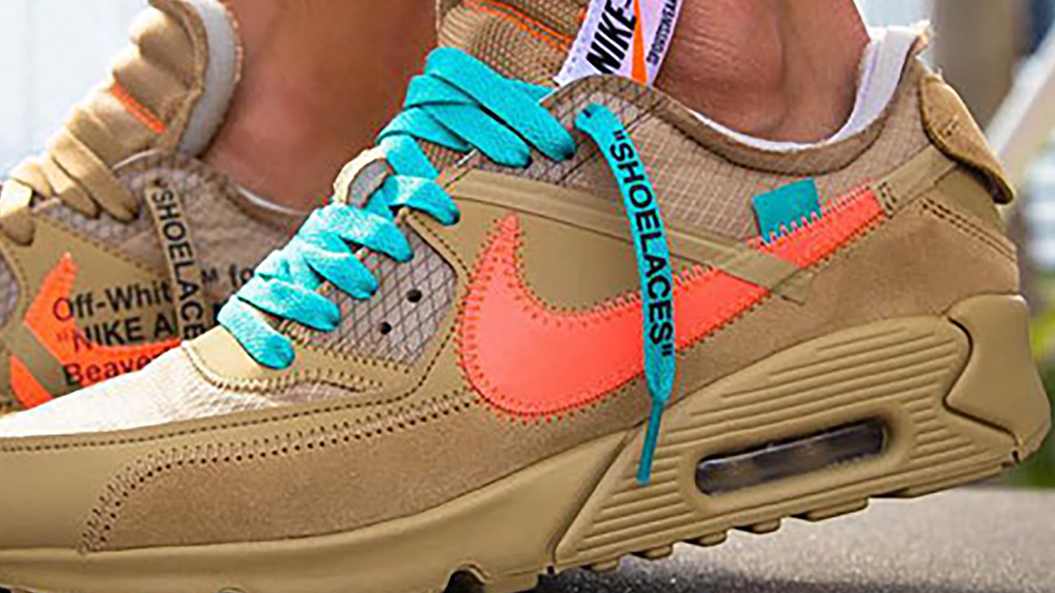 The Off White X Nike Air Max 90 Desert Ore Gets On Foot Shots