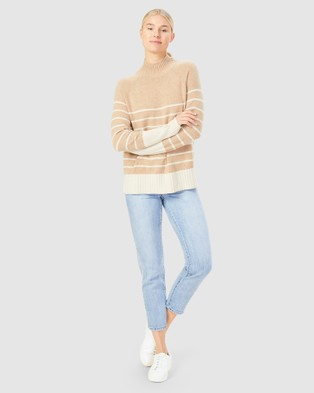 French Connection - Cosy Stripe Knit - Jumpers & Cardigans (CAMEL/ECRU) Cosy Stripe Knit