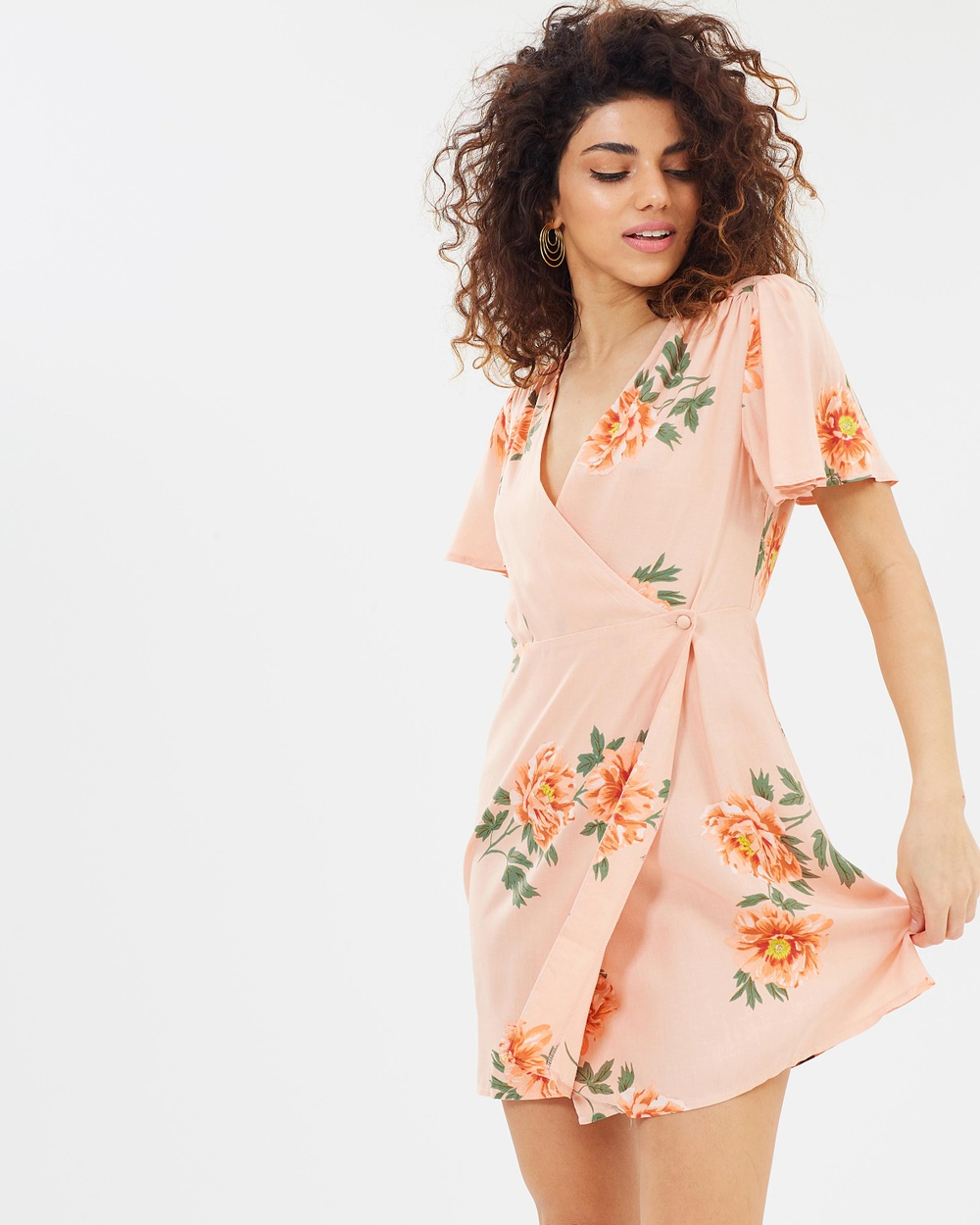 Miss Selfridge Petite Wrap Tea Dress Printed Dresses Peach Wrap Tea Dress