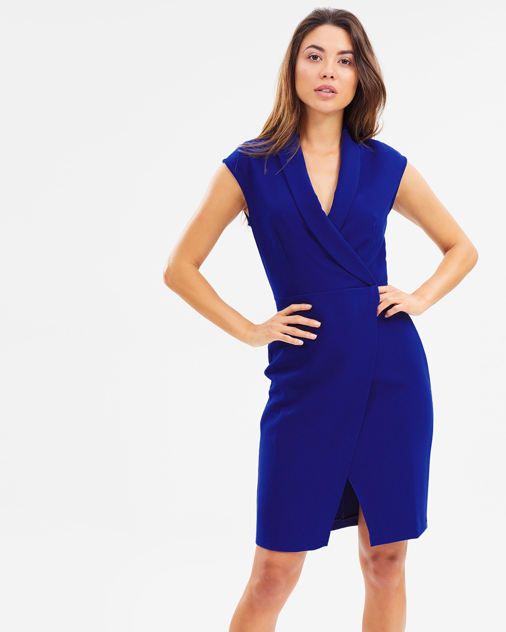 Closet London Wrap Over Collar Dress Dresses Royal Wrap-Over Collar Dress