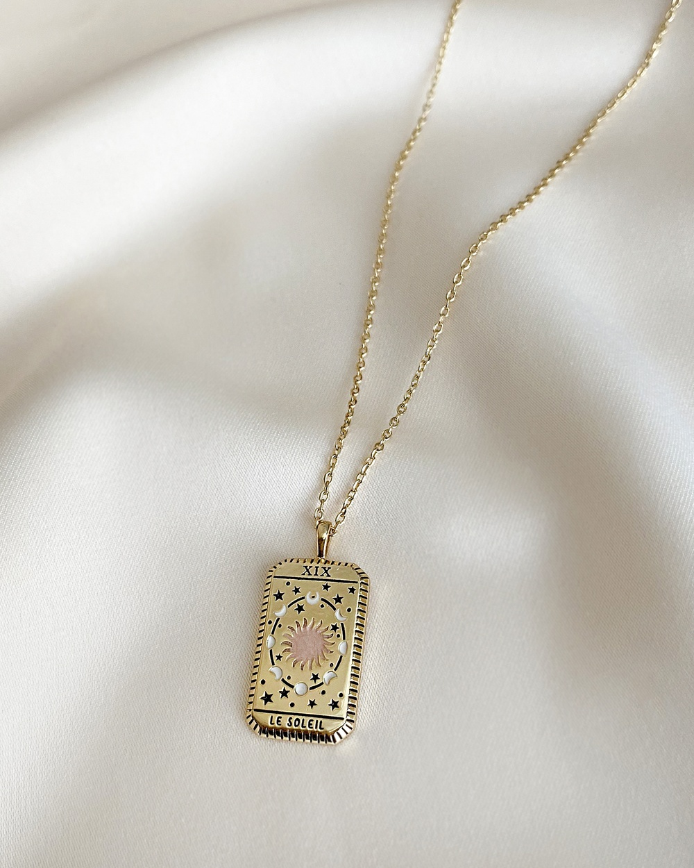 Wanderlust + Co Le Soleil Gold Tarot Necklace Jewellery Gold