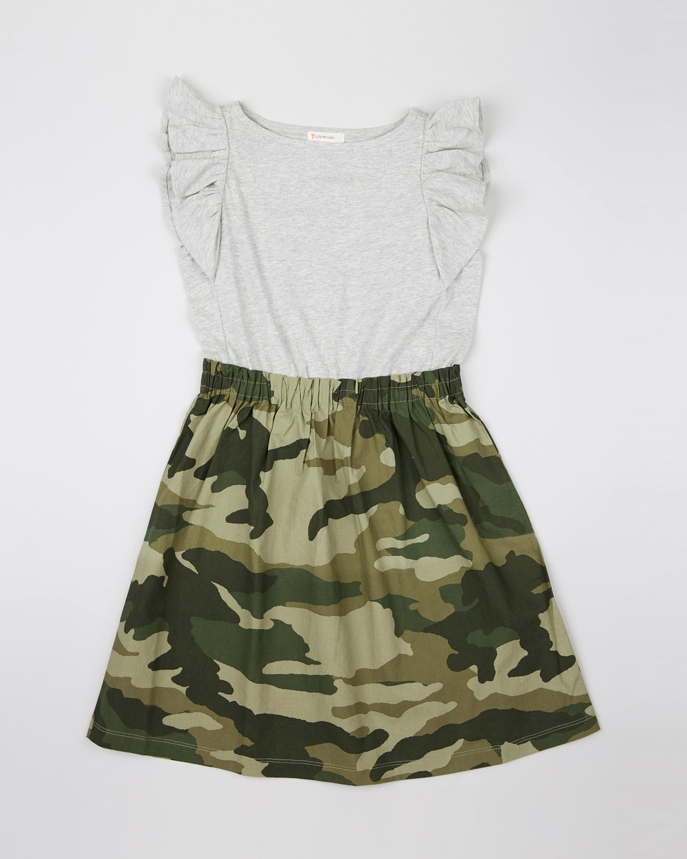 crewcuts by J Crew Heather Dusk Camo Ella Knit Woven Dress – Teens
