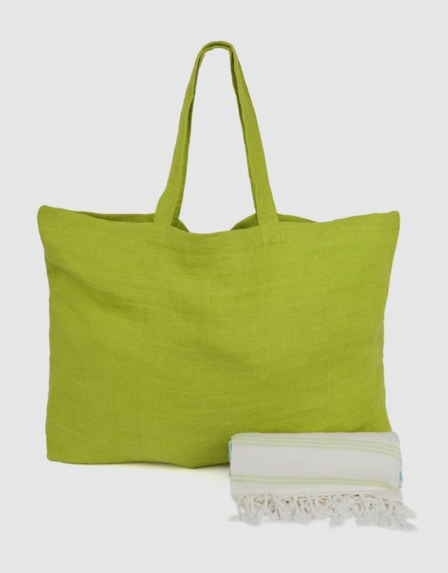 Life Pistachio Linen Tote  St Tropez Turquoise & Lime Turkish Towel Gift Set