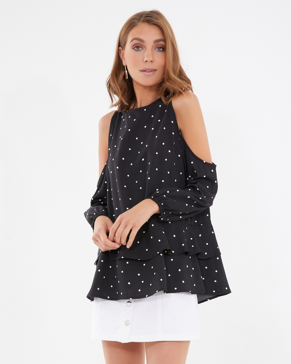 Calli Chairete Cold Shoulder Top Tops Black Chairete Cold Shoulder Top