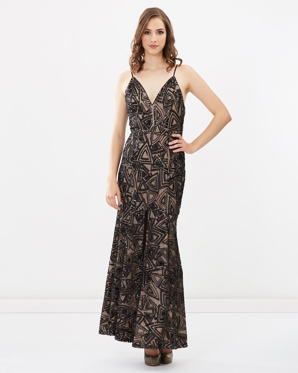 Romance by Honey and Beau Alyssa Sequin Maxi Dress Bridesmaid Dresses Black-Nude Alyssa Sequin Maxi Dress