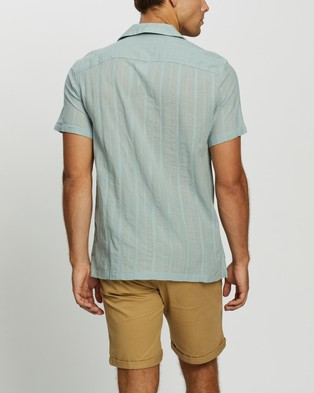 Abercrombie & Fitch SS Textural Dobby Stripe Shirt - Casual shirts (Blue Stripe)