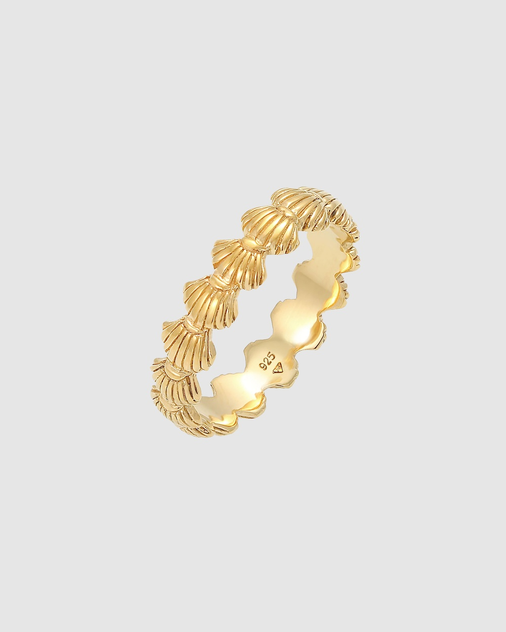 Elli Jewelry Ring Shells Maritime Beach Look Summer in 925 Sterling Silver Gold Plated Jewellery Gold