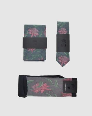 Peggy and Finn Waratah Tie Gift Set - Ties (Grey)