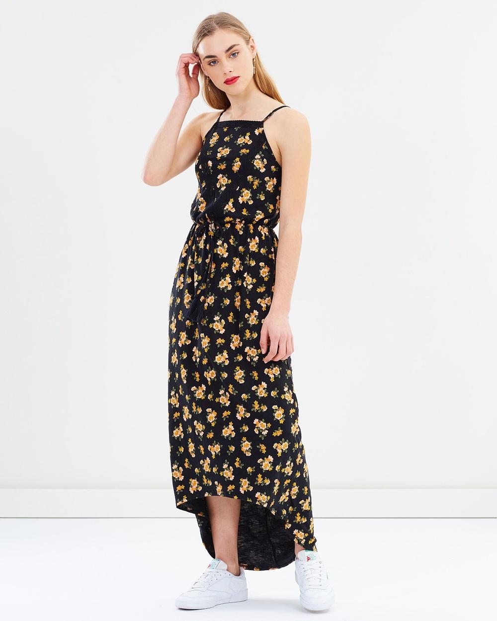 Miss Selfridge Blossom Maxi Dress Printed Dresses Black Blossom Maxi Dress