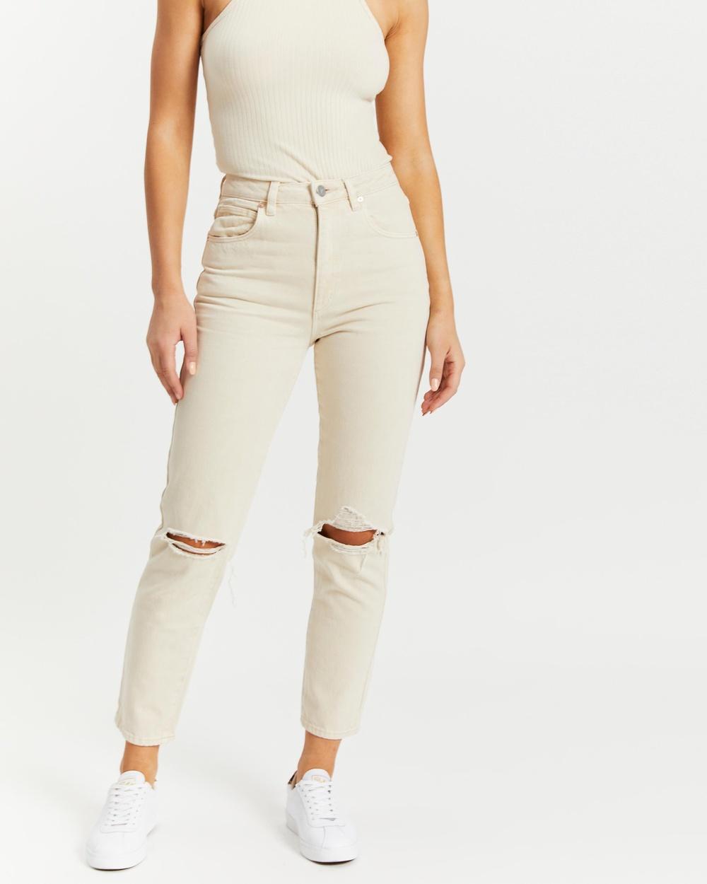 Abrand A '94 High Slim Jeans Ecru Rip