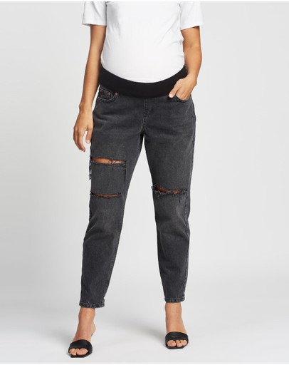 Topshop Maternity Ripped Mom Tapered Jeans Washed Black