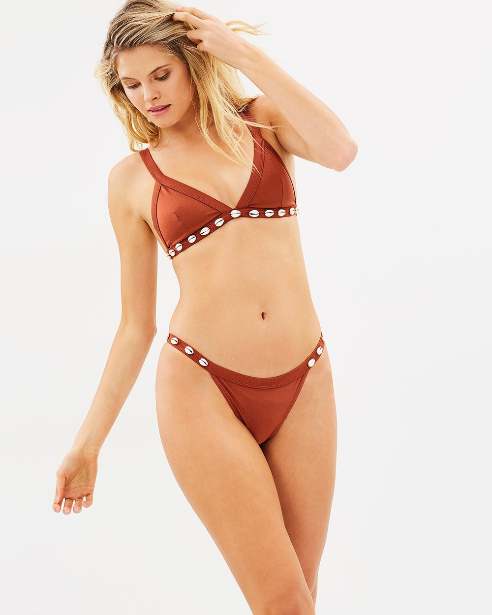 Local Luxe Swim Luxe Cowrie Pants Bikini Set Burnt Orange Luxe Cowrie Pants