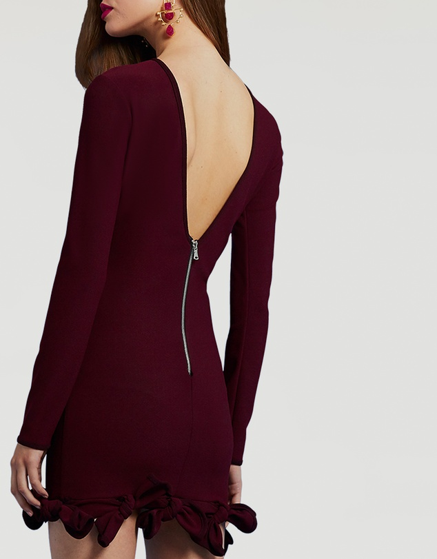 BY JOHNNY. - Sleeved Plum-Tie Mini Dress