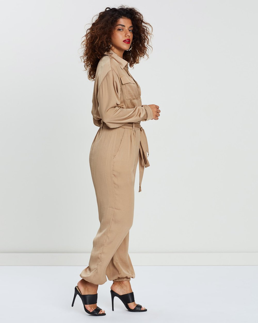 109b0c4afbb Satin Belted Utility Jumpsuit by Missguided Petite Online