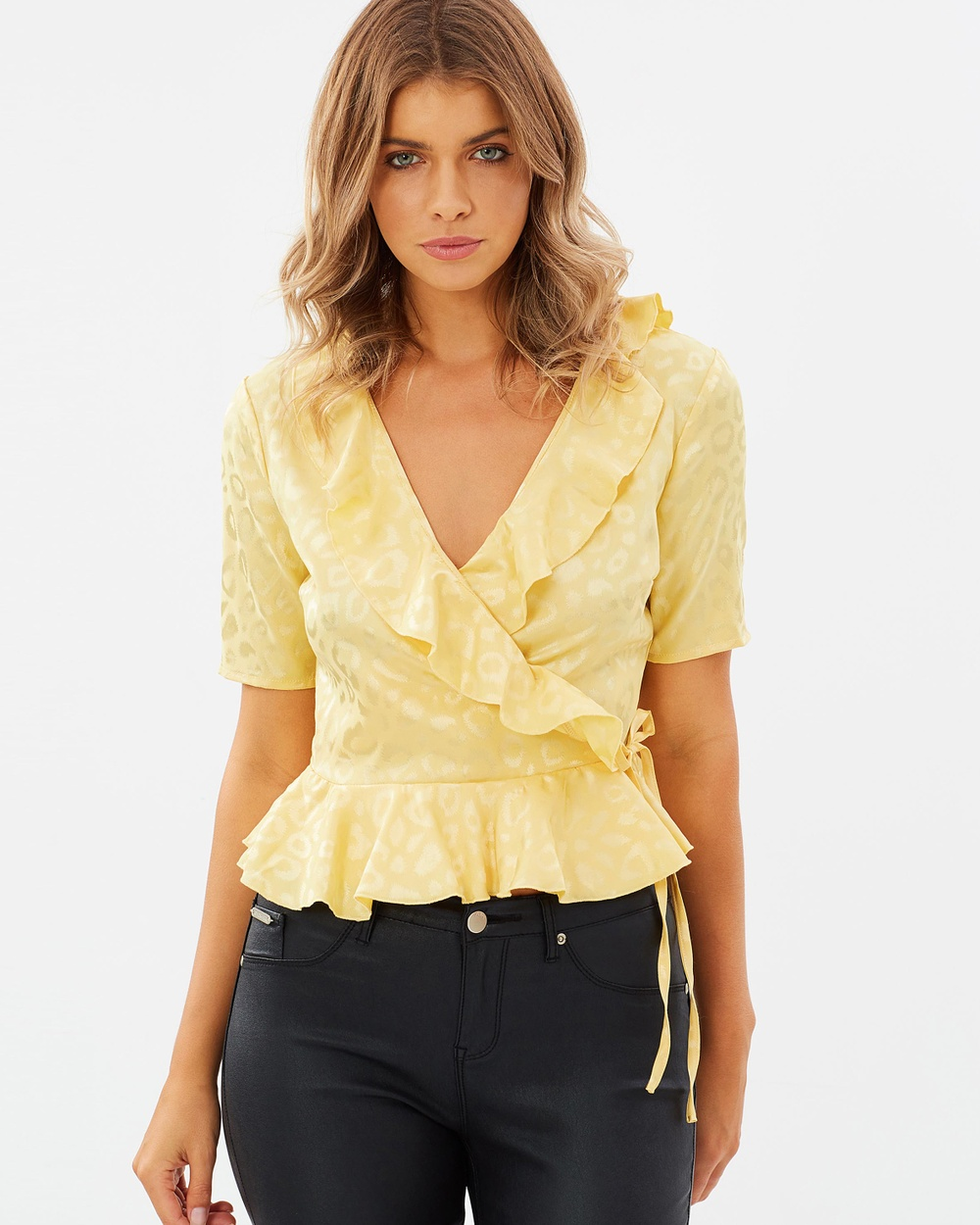 Atmos & Here ICONIC EXCLUSIVE Carol Frill Wrap Top Tops Yellow ICONIC EXCLUSIVE Carol Frill Wrap Top