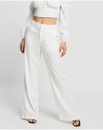 Dazie - Long Lunch Linen Blend Pants