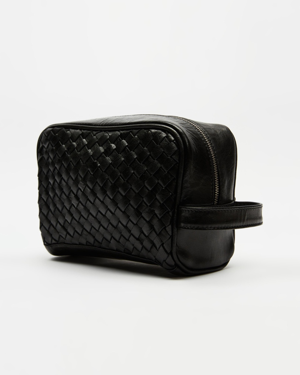 AERE Woven Leather Washbag Toiletry Bags Black