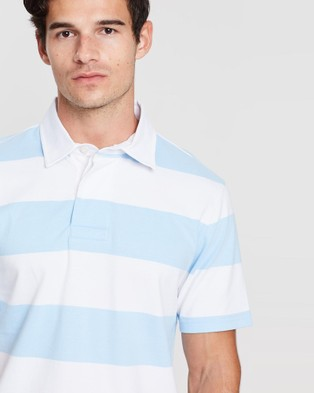 Gieves and Hawkes Striped Polo Top - Shirts & Polos (Light Blue)
