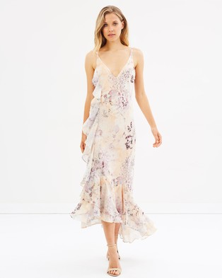 We Are Kindred – Paloma Ruffle Slip Dress – Bridesmaid Dresses Sunset wo Buttons