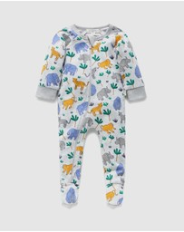 Purebaby - Wildlife  Zip Long Johns - Babies