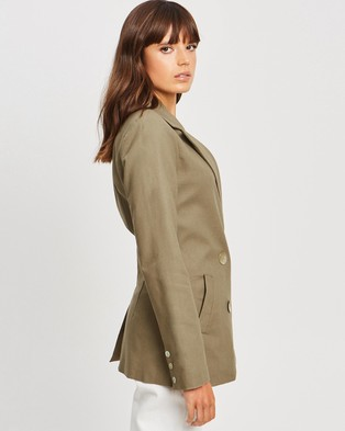 The Fated Epitome Linen Blazer - Blazers (Sage Green)