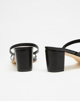 Atmos&Here Sunny Leather Heels - Mid-low heels (Black Leather)