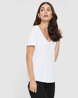 Bamboo Body Classic Scoop Neck Short Sleeve T-Shirts White