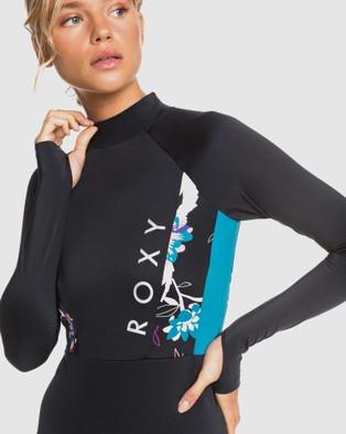 Roxy Womens ROXY Fitness Long Sleeve UPF 50 One Piece Rashguard - Rash Suits (TRUE BLACK VALLAY)