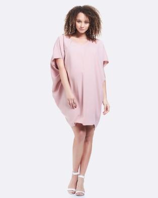 Soon Maternity – Cara Drape Maternity Dress Baby Pink