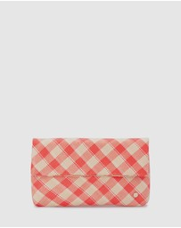 Olga Berg - Taylor Straw Plaid Fold Over Clutch