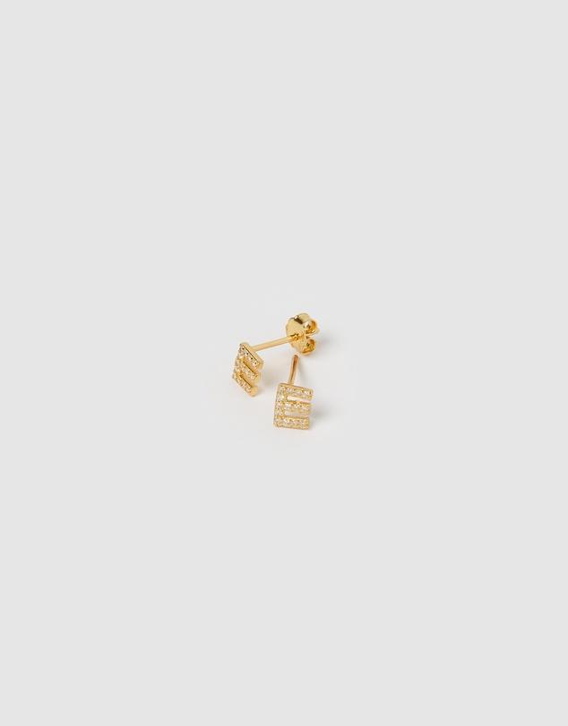 Women Alphabet Mini Letter E Stud Earrings Gold