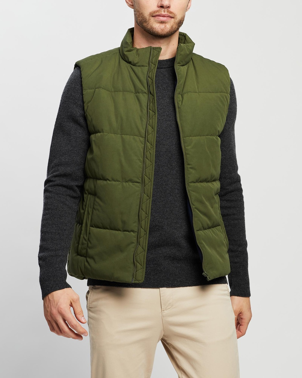3 Wise Men The Downer Puffer Vest Coats & Jackets Army Green