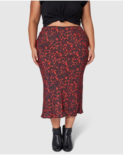 Something 4 Olivia Francine Print Midi Skirt Petrol Red Floral