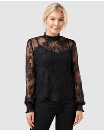 Forever New Petite - Azura Petite Lace Shirred Neck Top