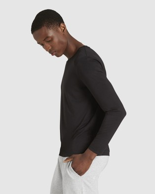 Boody Organic Bamboo Eco Wear - Long Sleeve Crew Neck T Shirt - Long Sleeve T-Shirts (Black) Long Sleeve Crew Neck T-Shirt