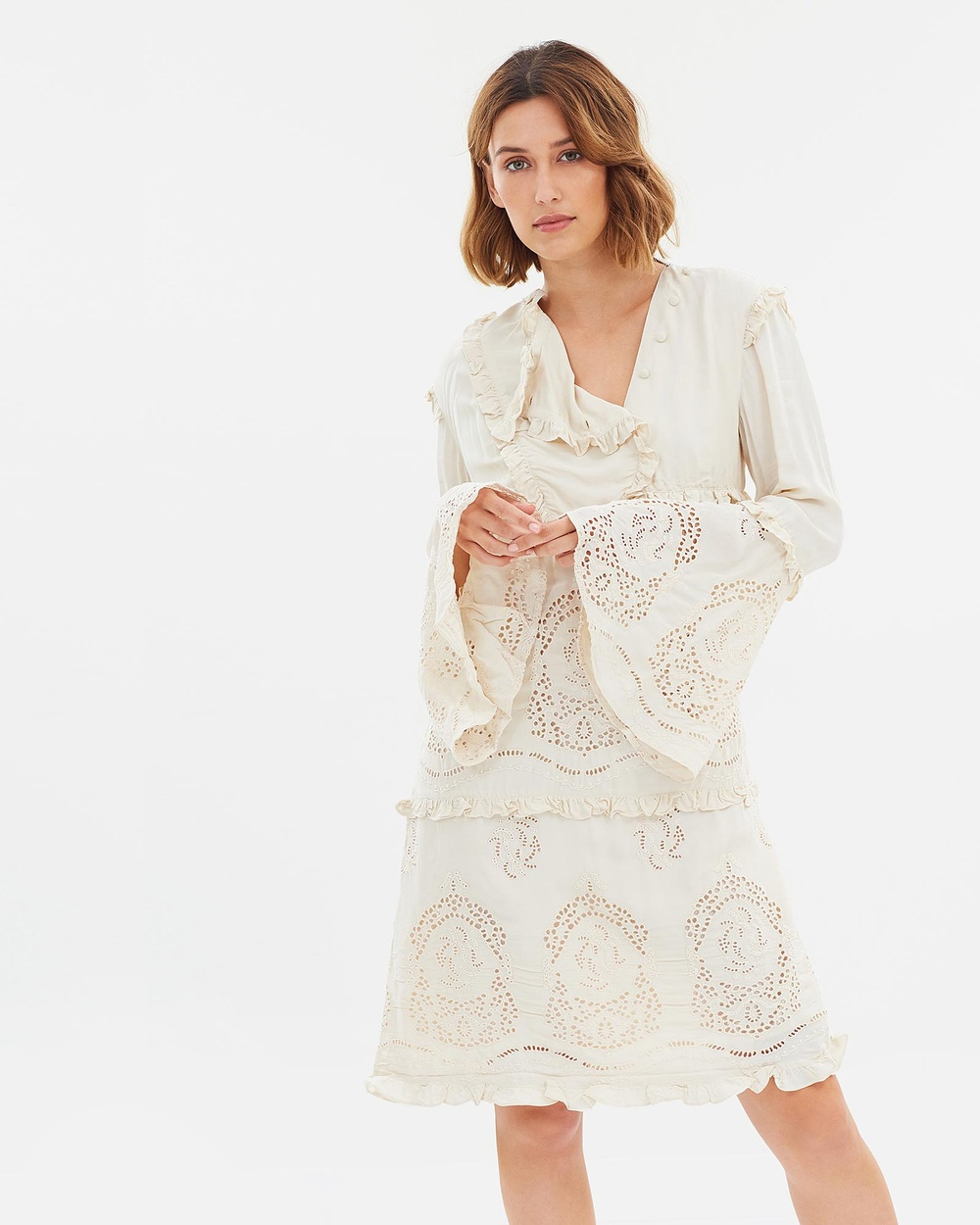 Maison Scotch Eyelet Suit Dress Dresses Vintage White Eyelet Suit Dress