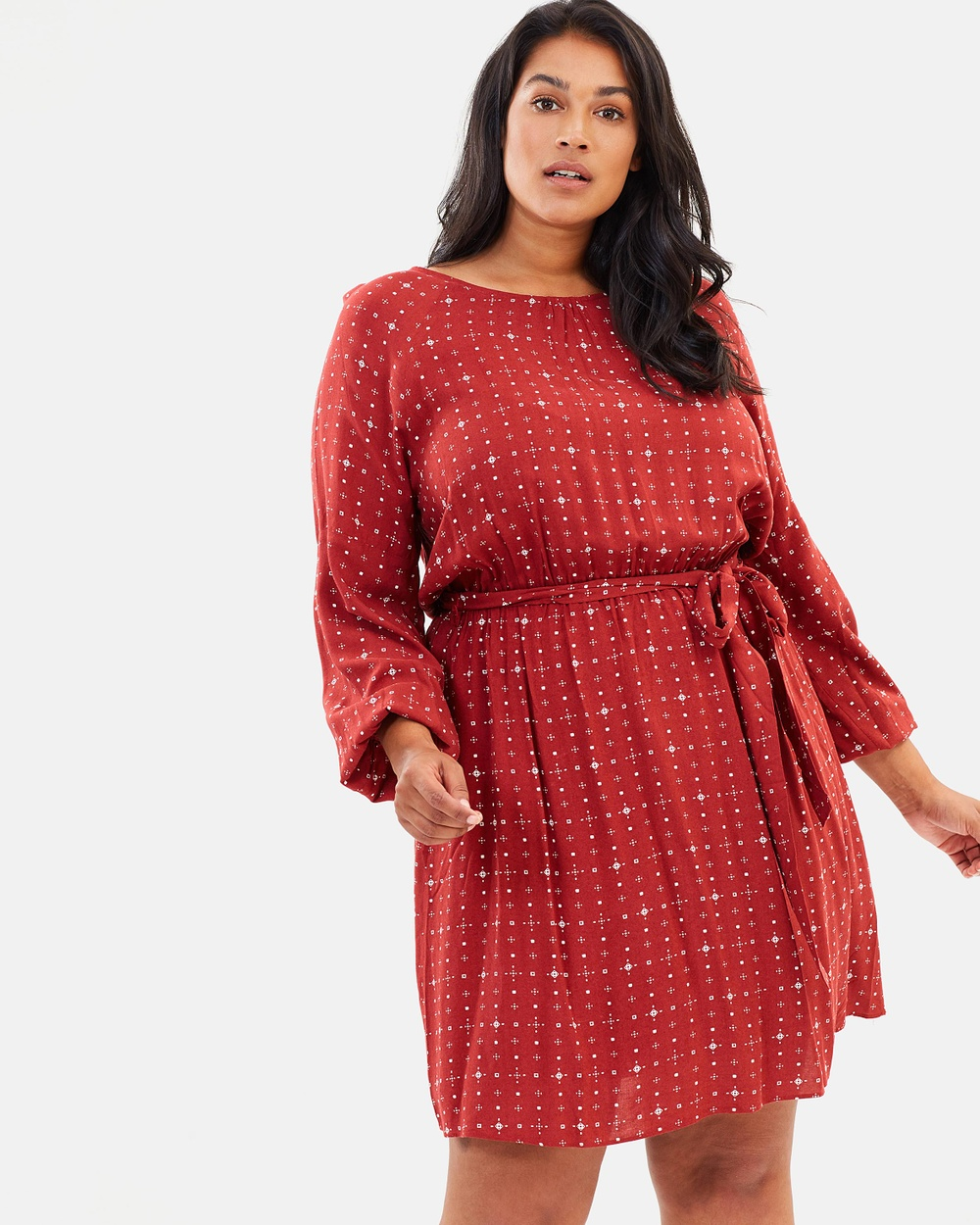Atmos & Here Curvy ICONIC EXCLUSIVE Minnie Fit and Flare Dress Printed Dresses Ruby Aztec ICONIC EXCLUSIVE Minnie Fit-and-Flare Dress