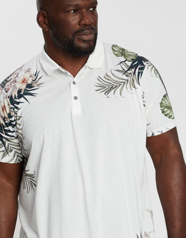 Burton Menswear - Big & Tall Floral Placement Polo Shirt