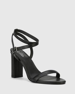 Wittner Raven Leather Open Toe Block Heels - Sandals (Black)