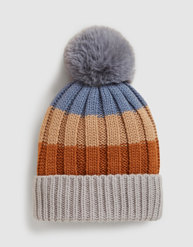 French Connection - Striped Pom Beanie