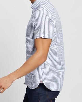Tommy Hilfiger Slim SS Seersucker Stripe Shirt - Casual shirts (Calm Blue & Multi)