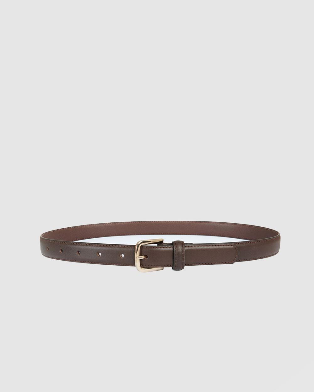 Forcast Sofia Leather Belt Belts Chocolate